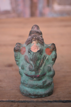 Old Clay Painted Statue of Ganesha
